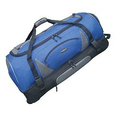 dbe50c8ad771 Drop-Bottom Wheeled Duffel Bag. Blue Black