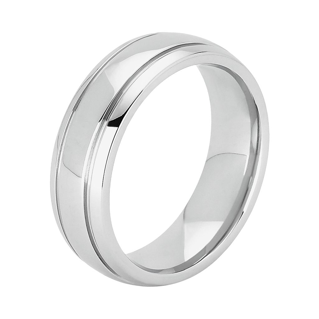 Cobalt Chrome Double Groove Wedding Band - Men