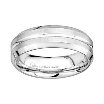 Cobalt Chrome Beveled Wedding Band - Men