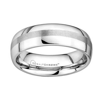 Cobalt Chrome Brushed Stripe Wedding Band - Men