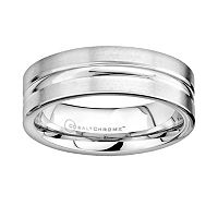 Cobalt Chrome Center Groove Wedding Band - Men