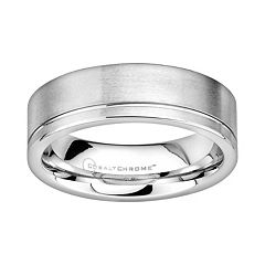 Cobalt Chrome Offset Groove Wedding Band - Men