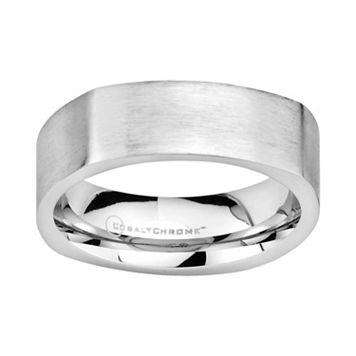 Cobalt Chrome Semi Square Wedding Band - Men