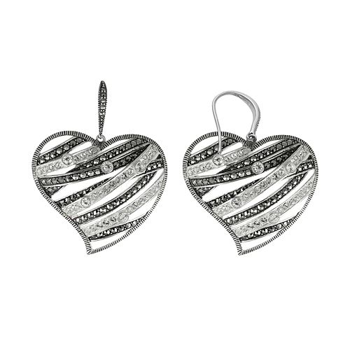 Lavish by TJM Sterling Silver Crystal Openwork Heart Drop Earrings - Made with Swarovski Marcasite