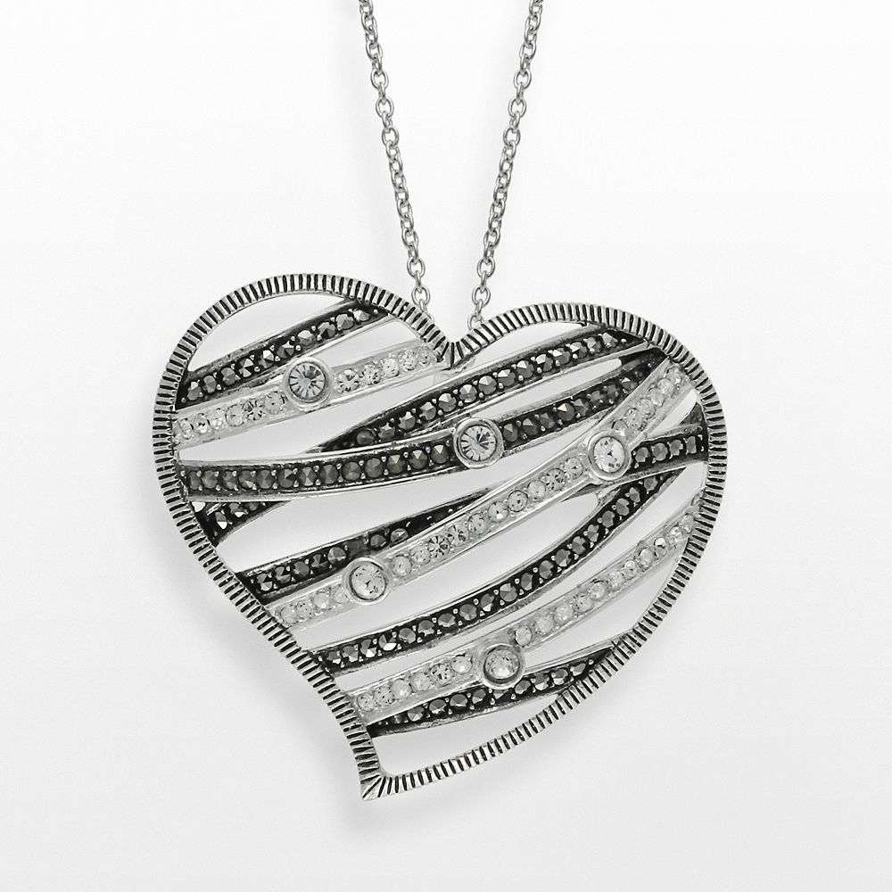 Lavish by TJM Sterling Silver Crystal Openwork Heart Pendant - Made with Swarovski Marcasite
