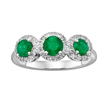 The Regal Collection 14k White Gold Genuine Emerald & 1/5-ct. T.W. IGL Certified Diamond 3-Stone Frame Ring
