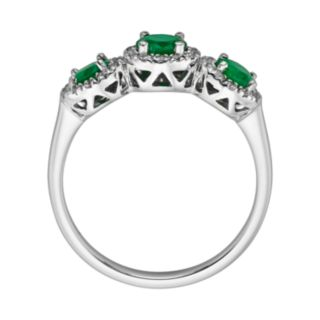 The Regal Collection 14k White Gold Genuine Emerald and 1/5-ct. T.W. IGL Certified Diamond 3-Stone Frame Ring
