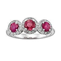 The Regal Collection 14k White Gold Genuine Ruby & 1/5-ct. T.W. IGL Certified Diamond 3-Stone Frame Ring