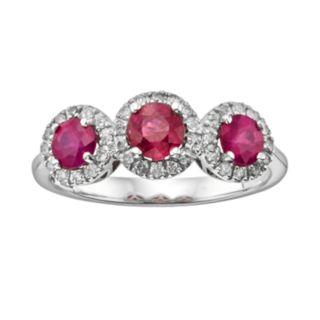 The Regal Collection 14k White Gold Genuine Ruby and 1/5-ct. T.W. IGL Certified Diamond 3-Stone Frame Ring