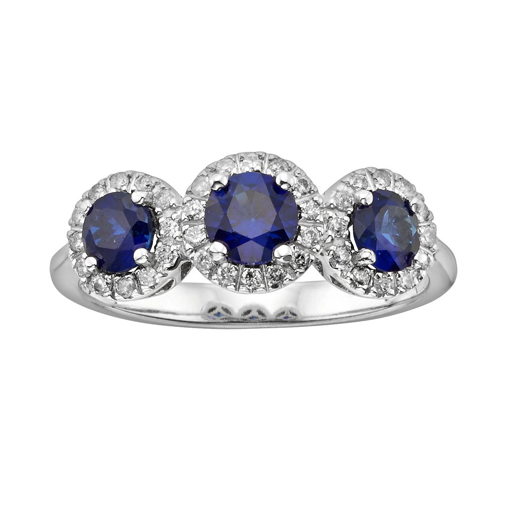 The Regal Collection 14k White Gold Genuine Sapphire & 1/5-ct. T.W. IGL Certified Diamond 3-Stone Frame Ring