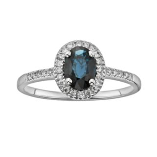 The Regal Collection 14k White Gold Genuine Sapphire and 1/6-ct. T.W. IGL Certified Diamond Frame Ring