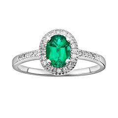 The Regal Collection 14k White Gold Genuine Emerald & 1/6-ct. T.W. IGL Certified Diamond Frame Ring