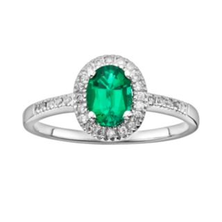 The Regal Collection 14k White Gold Genuine Emerald and 1/6-ct. T.W. IGL Certified Diamond Frame Ring