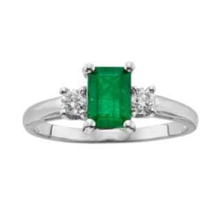 The Regal Collection 14k White Gold Genuine Emerald and 1/5-ct. T.W. IGL Certified Diamond 3-Stone Ring