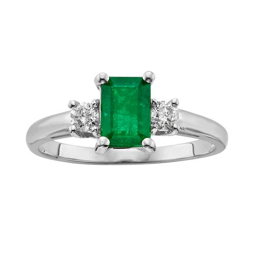 The Regal Collection 14k White Gold Genuine Emerald & 1/5-ct. T.W. IGL Certified Diamond 3-Stone Ring