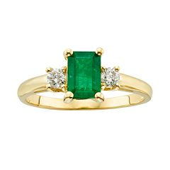 The Regal Collection 14k Gold Genuine Emerald & 1/5 ctT.W. IGL Certified Diamond 3-Stone Ring