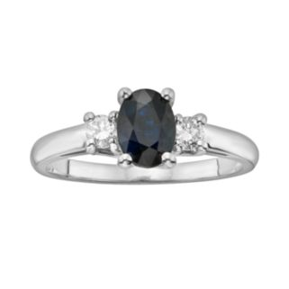 The Regal Collection 14k White Gold Genuine Sapphire and 1/5-ct. T.W. IGL Certified Diamond 3-Stone Ring