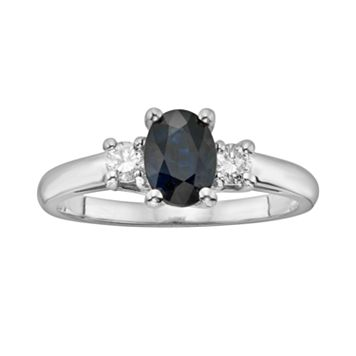 The Regal Collection 14k White Gold Genuine Sapphire & 1/5-ct. T.W. IGL Certified Diamond 3-Stone Ring