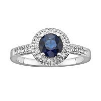 The Regal Collection 14k White Gold Genuine Sapphire & 1/6 ctT.W. IGL Certified Diamond Frame Ring