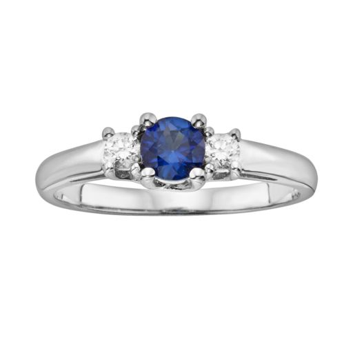 The Regal Collection 14k White Gold Genuine Sapphire and 1/6-ct. T.W. IGL Certified Diamond 3-Stone Ring
