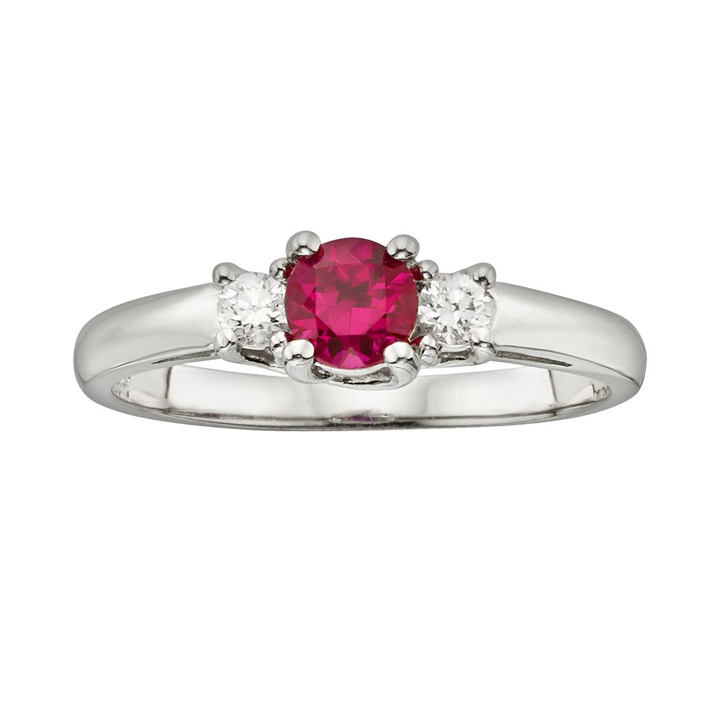 The Regal Collection 14k White Gold Genuine Ruby & 1/6-ct. T.W. IGL Certified Diamond 3-Stone Ring