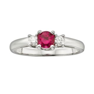 The Regal Collection 14k White Gold Genuine Ruby and 1/6-ct. T.W. IGL Certified Diamond 3-Stone Ring