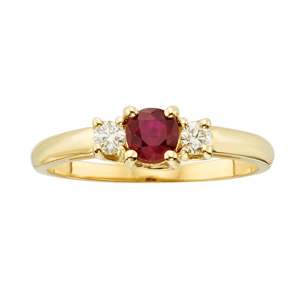 The Regal Collection 14k Gold Genuine Ruby & 1/6-ct. T.W. IGL Certified Diamond 3-Stone Ring