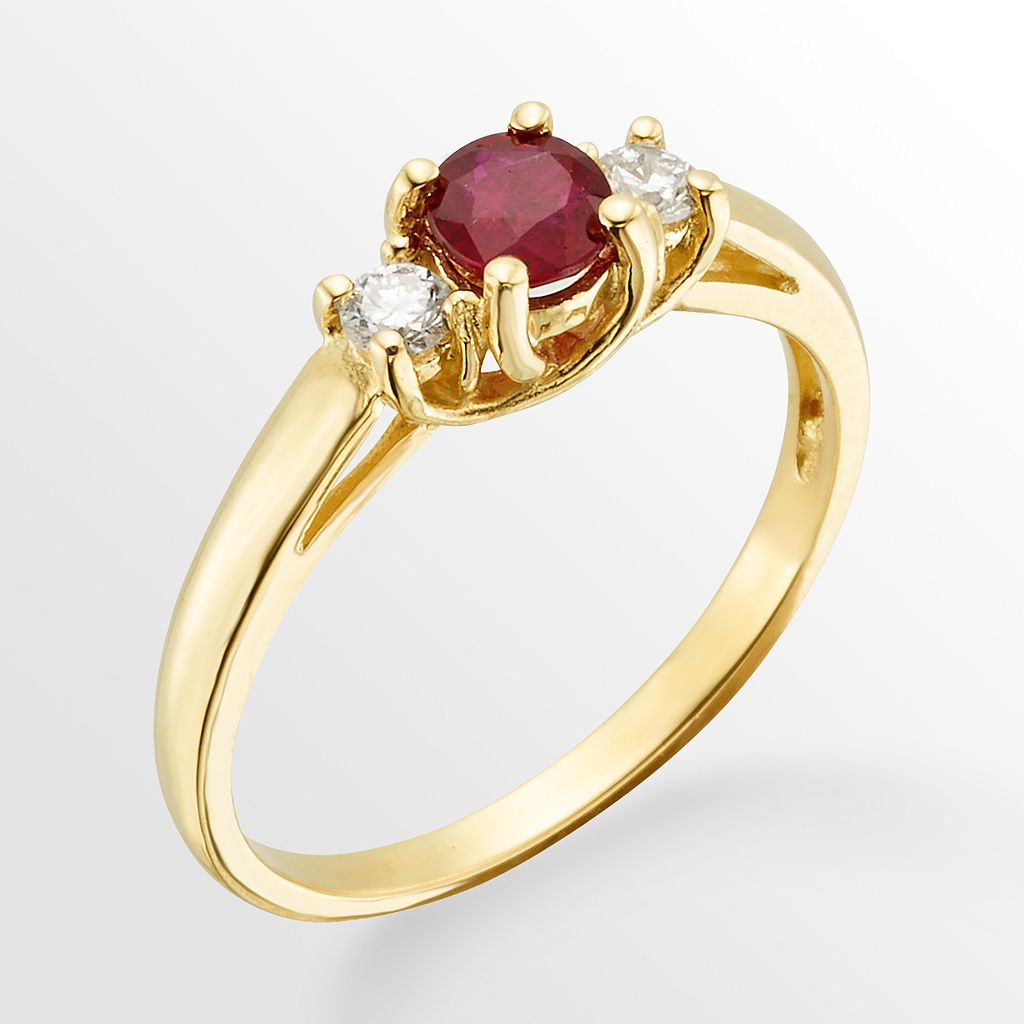 The Regal Collection 14k Gold Genuine Ruby and 1/6-ct. T.W. IGL Certified Diamond 3-Stone Ring