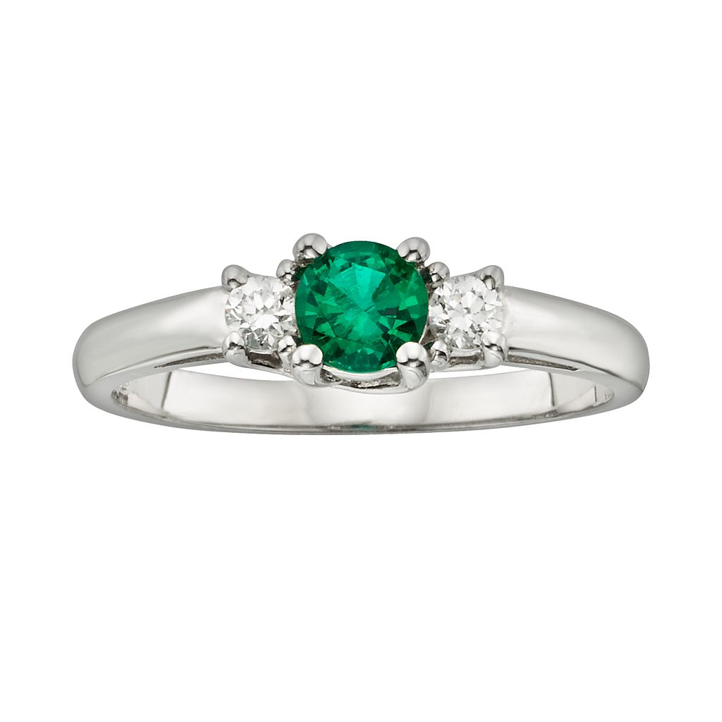 The Regal Collection 14k White Gold Genuine Emerald & 1/6-ct. T.W. IGL Certified Diamond 3-Stone Ring