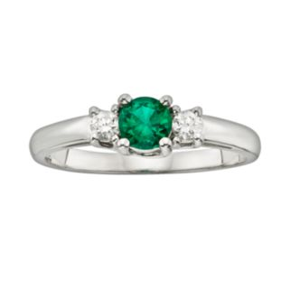 The Regal Collection 14k White Gold Genuine Emerald and 1/6-ct. T.W. IGL Certified Diamond 3-Stone Ring