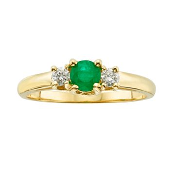 The Regal Collection 14k Gold Genuine Emerald & 1/6-ct. T.W. IGL Certified Diamond 3-Stone Ring