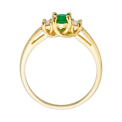 The Regal Collection 14k Gold Genuine Emerald and 1/6-ct. T.W. IGL Certified Diamond 3-Stone Ring