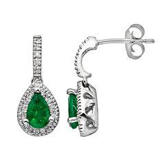 The Regal Collection 14k White Gold Genuine Emerald & 1/5-ct. T.W. IGL Certified Diamond Teardrop Earrings