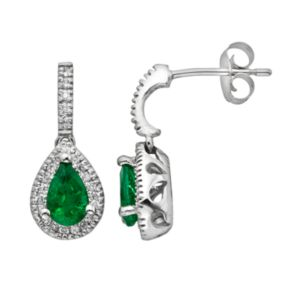 The Regal Collection 14k White Gold Genuine Emerald and 1/5-ct. T.W. IGL Certified Diamond Teardrop Earrings