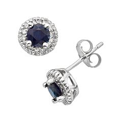 The Regal Collection 14k White Gold Genuine Sapphire & 1/6 ctT.W. IGL Certified Diamond Frame Stud Earrings