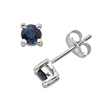 The Regal Collection 14k White Gold Genuine Sapphire Stud Earrings