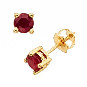 The Regal Collection 14k Gold Genuine Ruby Stud Earrings