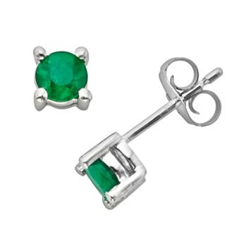 The Regal Collection 14k White Gold Genuine Emerald Stud Earrings