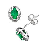 The Regal Collection 14k White Gold Genuine Emerald & 1/6-ct. T.W. IGL Certified Diamond Frame Stud Earrings