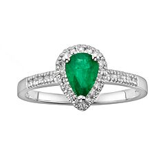The Regal Collection 14k White Gold Genuine Emerald & 1/8 ctT.W. IGL Certified Diamond Teardrop Ring