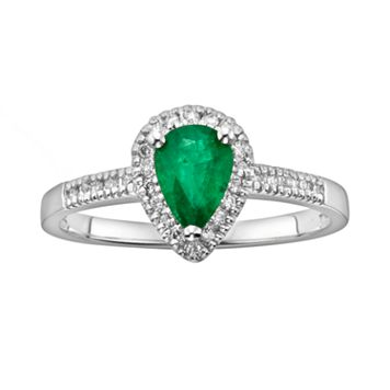 The Regal Collection 14k White Gold Genuine Emerald & 1/8-ct. T.W. IGL Certified Diamond Teardrop Ring