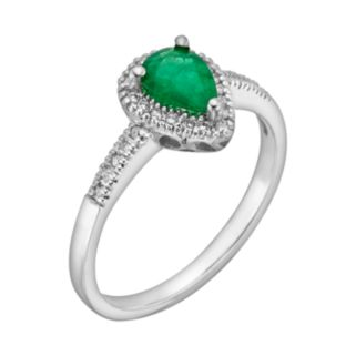 The Regal Collection 14k White Gold Genuine Emerald and 1/8-ct. T.W. IGL Certified Diamond Teardrop Ring