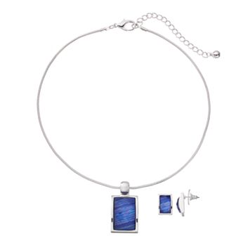 Rectangle Pendant Necklace & Drop Earring Set