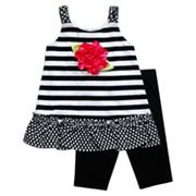 Youngland Floral Striped Dress and Bike Shorts Set - Toddler