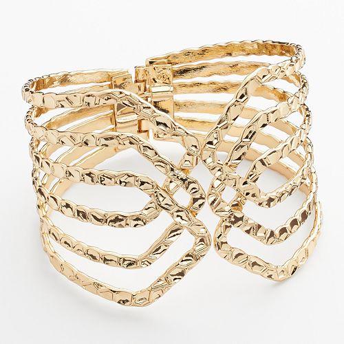 Hammered Crisscross Bangle Bracelet