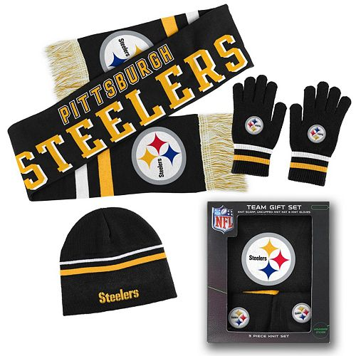 774bd824 Youth Pittsburgh Steelers Knit Cap, Scarf and Gloves Set