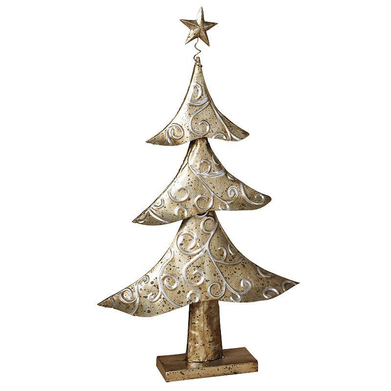 Metal Tabletop Christmas Tree: White Metal Christmas Decor