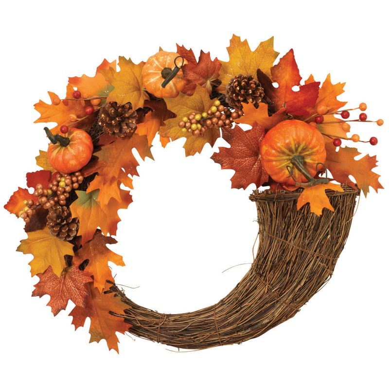 Gerson Cornucopia Pumpkin Fall Wreath (Brown)