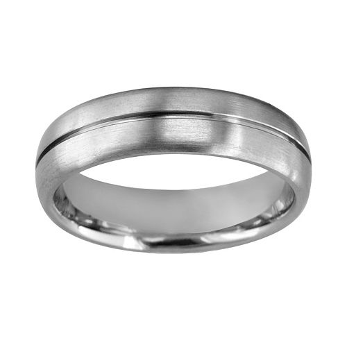 Titanium Center Groove Wedding Band - Men