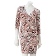 Jennifer Lopez Leopard Faux-Wrap Dress - Petite